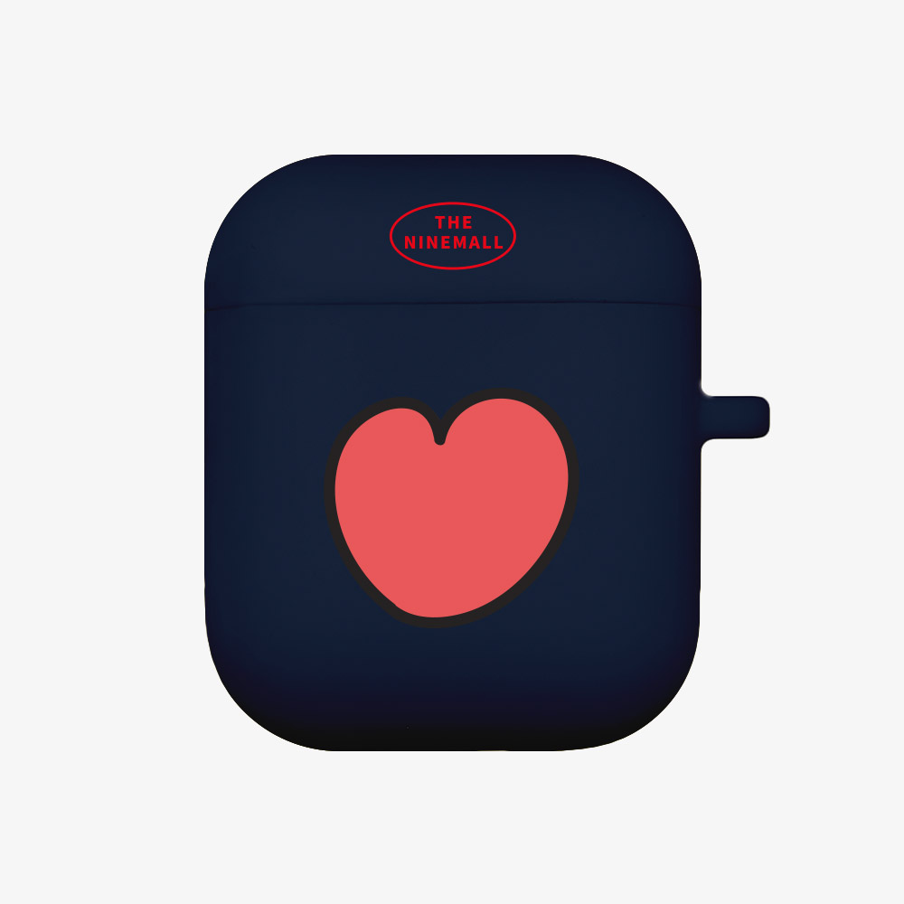 heart pattern [airpods jellycase][navy]