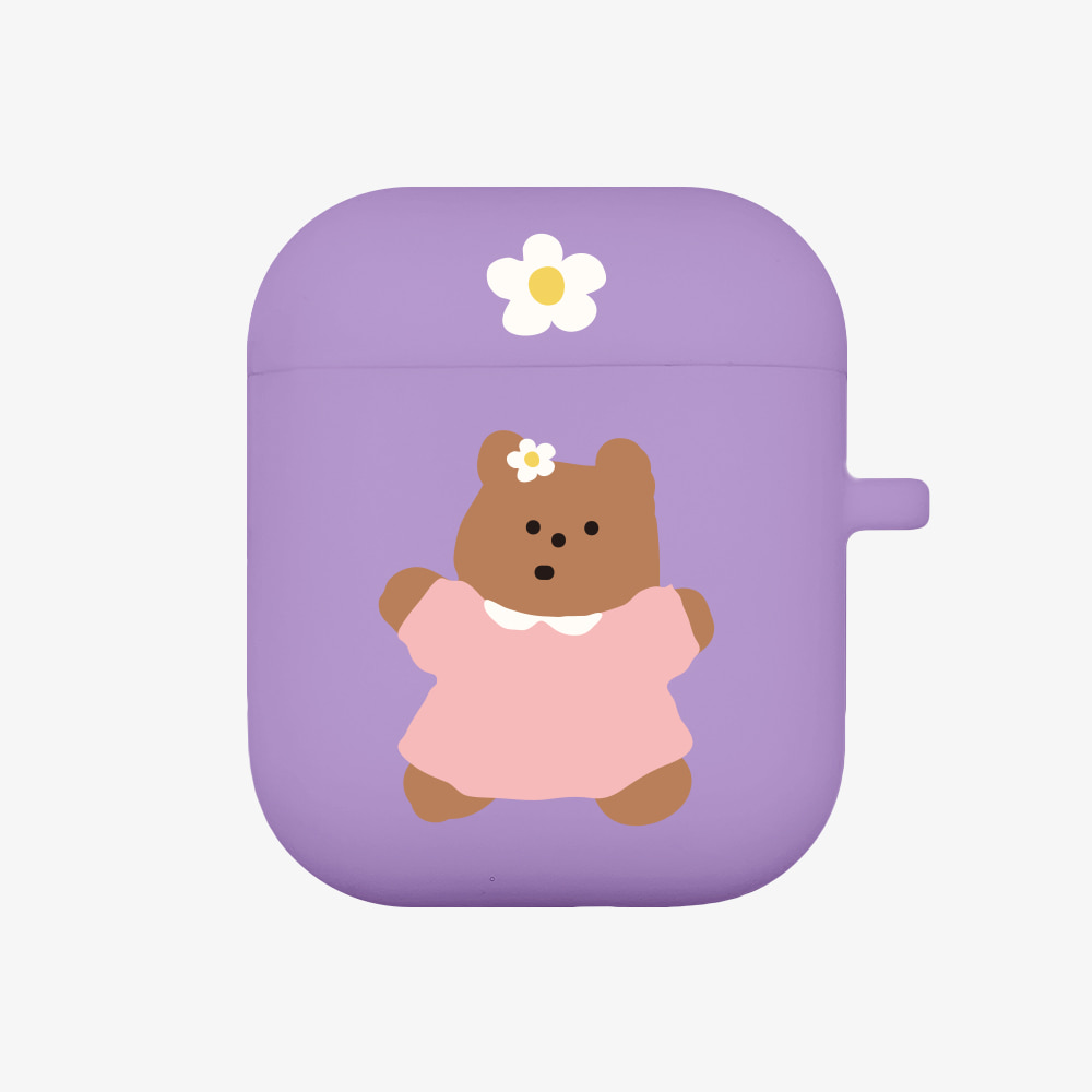 flower dress gummy [airpods jellycase][purple]